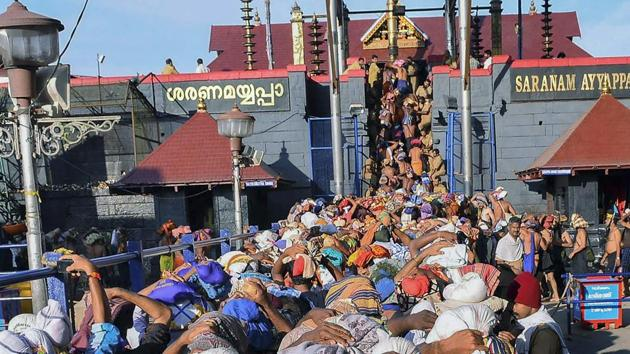 Pathanamthitta district where Sabarimala temple is located is observing a shutdown on Sunday called by the BJP yuva morcha.(PTI File Photo)