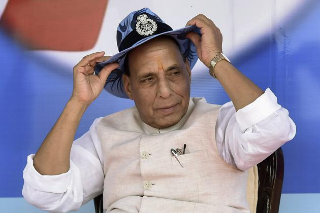 Union home minister Rajnath Singh at a function on the occasion of the 26th anniversary of Rapid Action Force in Bijnore area of Lucknow on Sunday.(PTI)