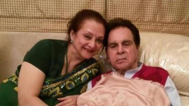 Dilip Kumar has been suffering from pneumonia for quite some time but Saira Banu continues to be his pillar of support.(Twitter)