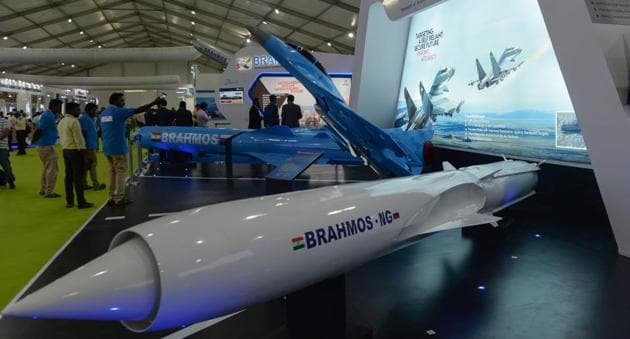 A display of Brahmos missile at the DefExpo 2018, on the outskirts Chennai on April 11.(AFP File Photo)
