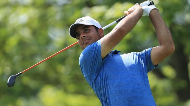 Shubhankar Sharma of India plays his shot from the second tee during the first round of the 2018 PGA Championship.(AFP)
