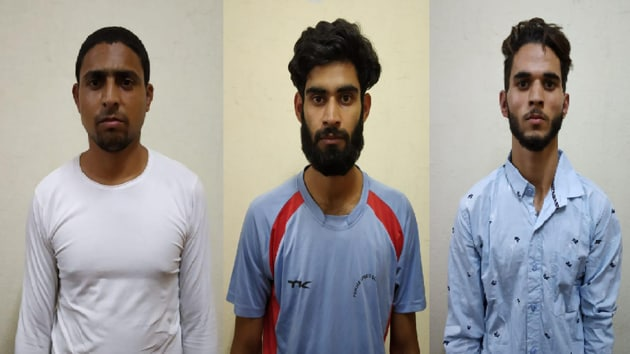 (Left to right) Mohammed Idriss Shah alias Nadeem, Yusuf Rafiq Bhatt and Zahid Gulzar were nabbed from the hostel of CT Institute of Engineering Management and Technology, located in Shahpur on the outskirts of Jalandhar.(HT Photo)