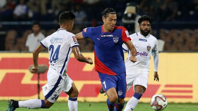 Nicolas Ladislao Fedor Flores of Bengaluru FC in action during match 2 of the Indian Super League 2018 ( ISL ) between Bengaluru FC and Chennaiyin FC.(ISL Image)