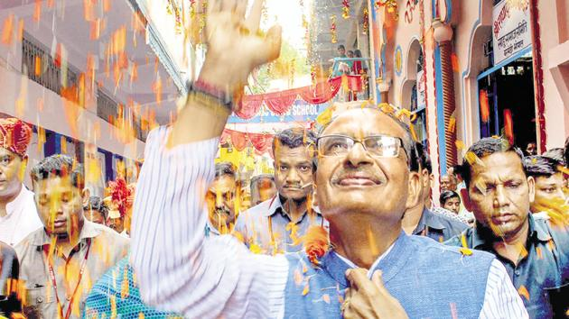 Madhya Pradesh CM Shivraj Singh Chouhan is banking on his 'mama' image to tide over the anti-incumbency that has set in after 15 years of BJP rule. He has travelled throughout the state ahead of the November 28 assembly elections.(PTI File)