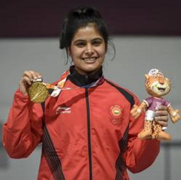 Manu Bhaker of India shows her Gold medal after competing in 10m Air Rifle Women during Day 3 of Buenos Aires 2018 Youth Olympic Games at Tecnopolis Park on October 9, 2018 in Buenos Aires, Argentina.(Getty Images)