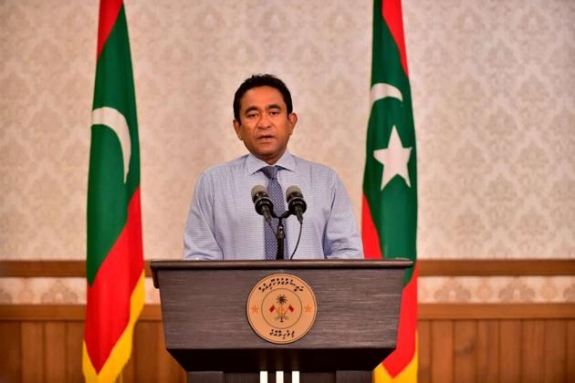 Maldivian President Abdulla Yameen speaks as he gives a statement at President office in Male, Maldives.(REUTERS)