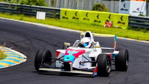 Ashwin Datta consolidated his position at the top of National Racing Championship.(HT Photo)