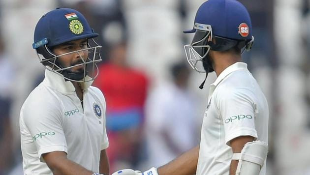 Rishabh Pant (L) and Ajinkya Rahane added put on an unbeaten partnership of 146 runs for the fifth wicket against West Indies.(AP)