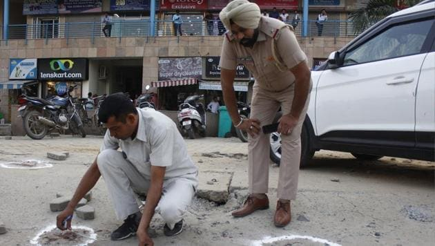 Additional Sessions Judge Krishan Kant's wife and son were shot by their personal security officer (PSO), a head constable of Gurugram police, on Saturday in Arcadia Market, Sector 49.(Yogendra Kumar/HT PHOTO)