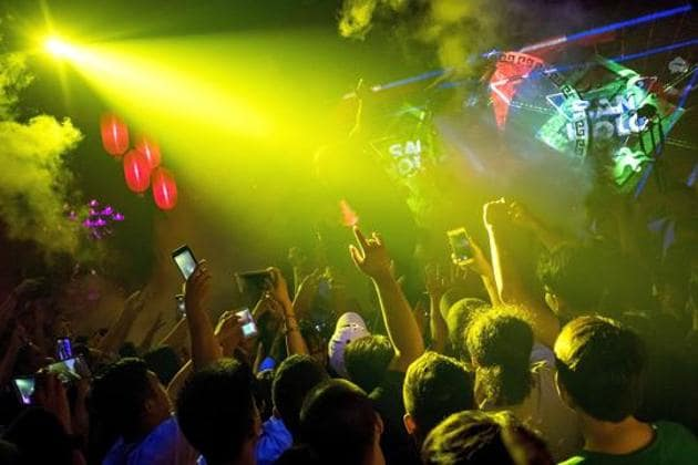 A representative image of a party. Goa Police raided a hotel in Vagator after receiving information that an underground rave party was being organised at the hotel.(AFP Photo)