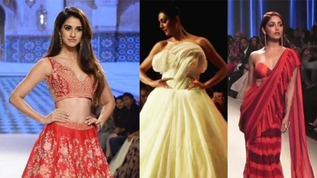 Disha Patani, Sushmita Sen and Yami Gautam walk the ramp at the Bombay Times Fashion Week.(Instagram)