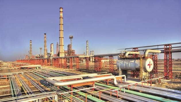 A partial view of the Essar oil refinery at Vadinar, Gujarat, India(HT File)