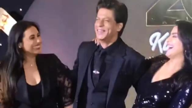 Shah Rukh Khan, Kajol and Rani Mukerji at the 20th anniversary celebrations of Kuch Kuch Hota Hai in Mumbai.