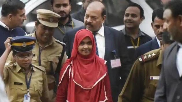 Hadiya (in red) converted to Islam and married Shafin Jahan, but her marriage was annulled by the Kerala high court on the basis of a petition filed by her father; the Supreme Court set aside the high court order.(HT File Photo)