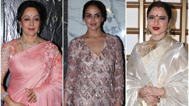 Beautiful ladies Hema Malini, Esha Deol and Rekha at the actor and BJP MP's birthday celebrations.(Viral Bhayani)