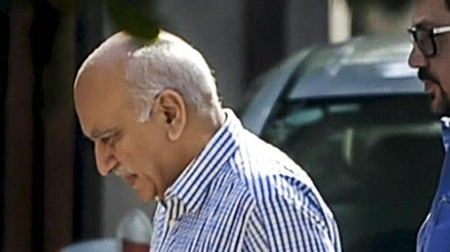 Union minister M J Akbar, who is facing allegations of sexual harassment by a number of women journalists, at his residence after his arrival from a foreign tour, in New Delhi on Sunday.(PTI Photo)