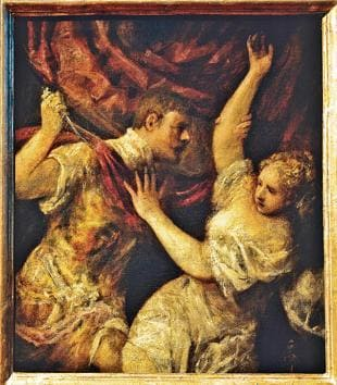 Tarquinius and Lucretia (1570) by Tiziano Vecellio (1490-1576).(De Agostini/Getty Images)