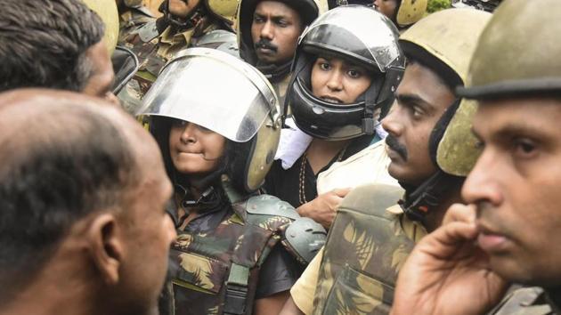The two women – Kavitha Jakkal and Rehana Fatima – were stopped just 500 metres away from Sabarimala temple(AP photo)