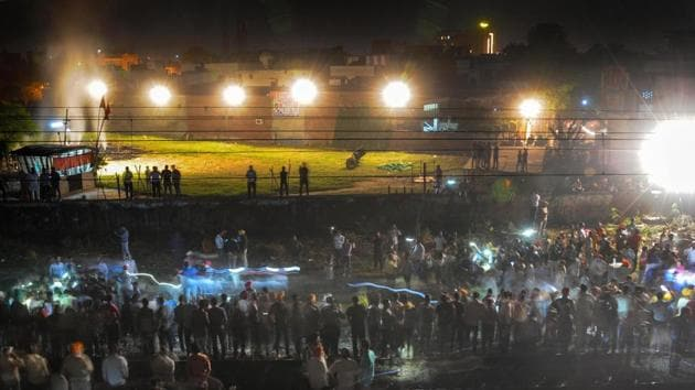 The site of a train accident near the venue of Dussehra festivities, at Joda Phatak in Amritsar.(PTI Photo)