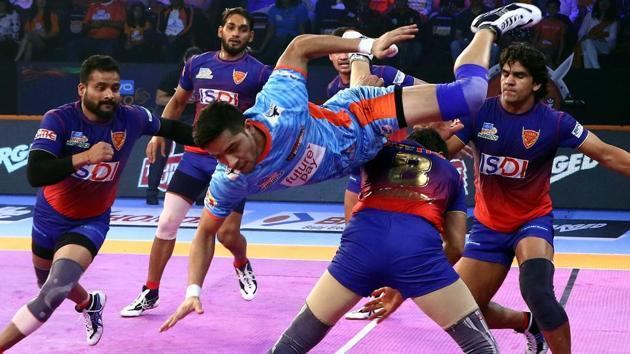 Naveen Kumar scored 11 raid points for Dabang Delhi whereas Ravinder Pahal contributed four tackle points(Pro Kabaddi)