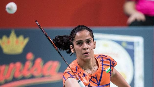 India's Saina Nehwal plays a shot against Taipei's Tzu Ying Tai during their Women Singles final match at the DANISA Denmark Open 2018 badminton tournament on October 21, 2018 in Odense.(AFP)