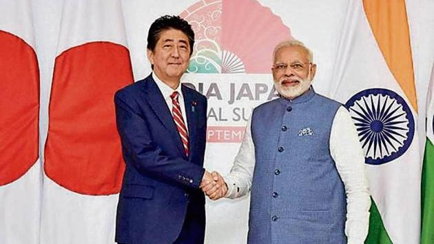 """A Japanese envoy said their PM Shinzo Abe is planning """"a very personal arrangement and discussion"""" with Narendra Modi.(PTI/File Photo)"""
