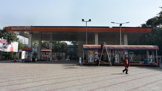 <p>A closed petrol pump station at Ring road at IP Estate in New Delhi. Around 400 fuel stations in the national capital began a 24-hour shutdown to press the...