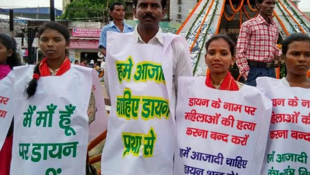 NGO members protesting against the killing of women on suspicion of practising witchcraft in Ranchi.(HT File Photo/Representative image)