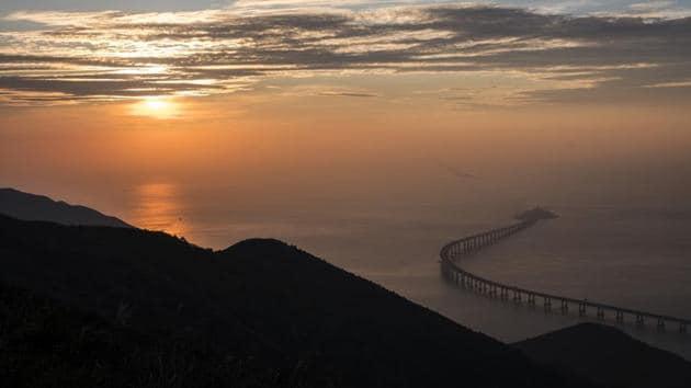 The Hong Kong Link Road section of the Hong Kong-Zhuhai-Macau Bridge.(Bloomberg)