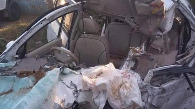 Mangled remains of the car.(HT Photo)