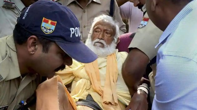 The video was released on Friday, the day the Supreme Court (SC) refused shifting his body from AIIMS, Rishikesh, to his Matri Sadan ashram in Haridwar for post-death rituals.(PTI)