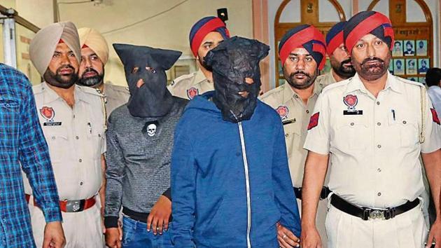 The accused in police custody in Ludhiana on Thursday.(HT Photo)