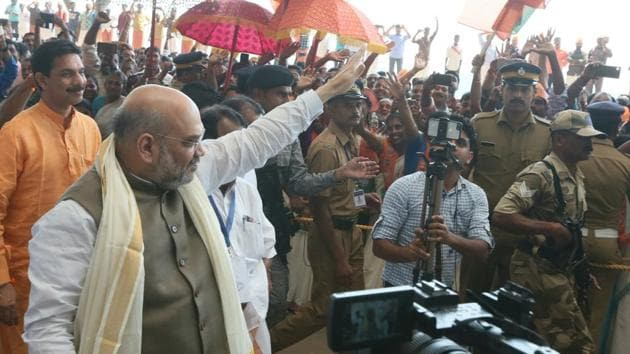 BJP president Amit Shah in Kannur on Saturday.(HT Photo)