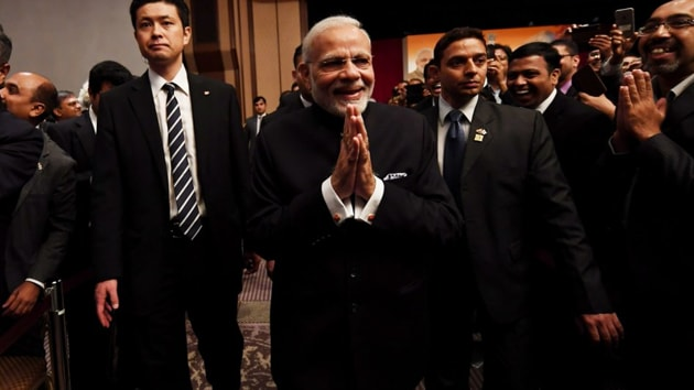 """Prime Minister Narendra Modi on Monday described Make in India as a """"global brand"""" while underlining his government's initiative to boost manufacturing in India, particularly in mobile phone manufacturing.(Narendra Modi)"""