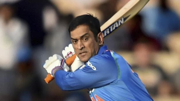 Indian batsman MS Dhoni plays a shot during the 4th ODI cricket match against West Indies at Brabourne Stadium.(AP)