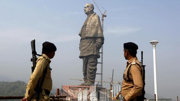 The Statue of Unity, a memorial to Sardar Patel, is scheduled to be inaugurated on October 31.(AP photo)