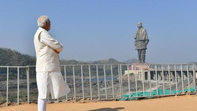 Prime Minister Narendra Modi looking at the State of Unity at the distance on October 31 in Gujarat.(PMO India)