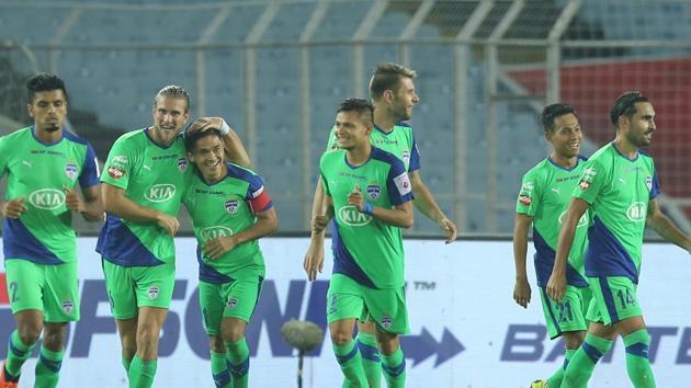 Erik Paartalu of Bengaluru FC celebrates the goal during match 24 of the Hero Indian Super League 2018 ( ISL ) between ATK and Bengaluru FC held at the Yuba Bharati Krirangan stadium (Salt Lake Stadium) in Salt Lake Kolkata.(ISL)