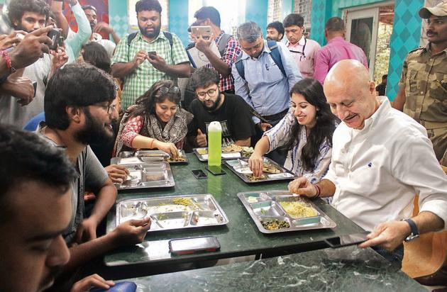 Kher said he wanted to leave with a positive feeling and that he is constituted a great academic and governing council(HT PHOTO)