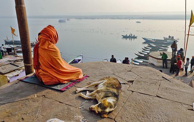 Contemplating the void: A sanyasi meditates on Vijayanagaram ghat on the Ganga in Varanasi.(Getty Images)