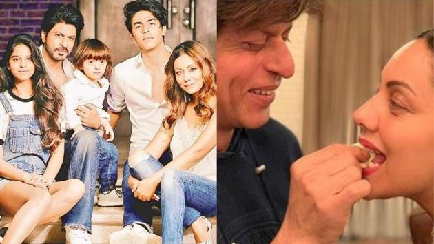 (left) Shah Rukh Khan's throwback family picture and the actor feeds cake to wife Gauri during his midnight birthday celebrations this year.(Instagram)