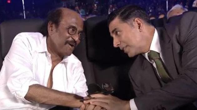 In 2.0's lead cast, Rajinikanth and Akshay Kumar, interact at the trailer launch in Chennai.(Twitter)