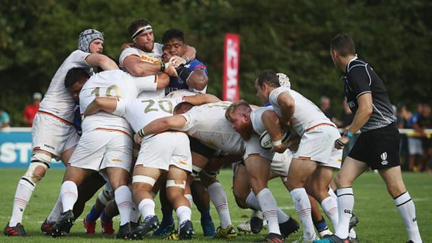 Michail Tyumenev and Sean Armstrong of Germany control the ball during the Germany v Samoa Rugby World Cup 2019 qualifying match on July 14, 2018 in Heidelberg, Germany(World Rugby via Getty Images)