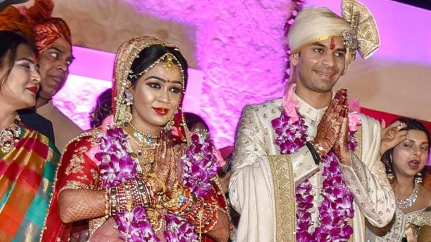 In what was considered one of the most high-profile weddings in the country in 2018, Tej Pratap had married Aishwarya, daughter of former minister, Chandrika Rai and granddaughter of former Bihar chief minister, Daroga Rai on May 12 this year.(PTI File Photo)