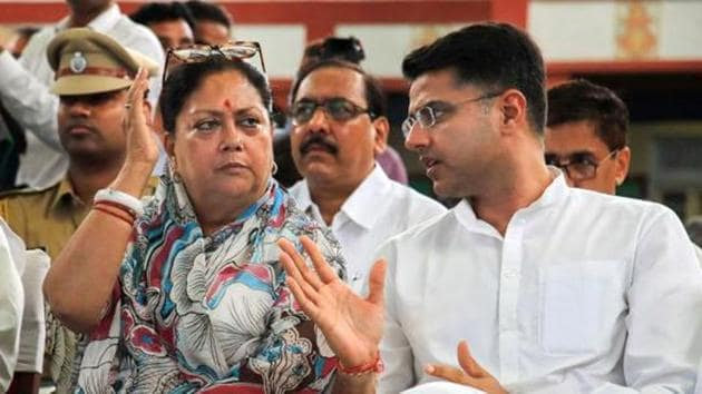 Rajasthan chief minister Vasundhara Raje on Saturday said that state Congress president Sachin Pilot has assumed himself as CM and formed his cabinet.(PTI)
