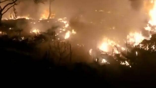Officials said 10 fire tenders and 30 firefighters reached the spot and doused the flames.(ANI/Video Grab)