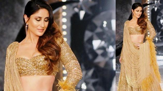 Kareena Kapoor Khan is a golden goddess in this Falguni and Shane Peacock lehenga. (Instagram)