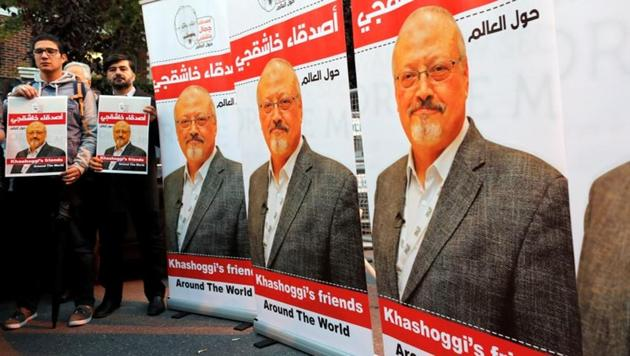 Friends of Saudi journalist Jamal Khashoggi hold posters and banners with his pictures during a demonstration outside the Saudi Arabian consulate in Istanbul, Turkey.(Reuters/File Photo)