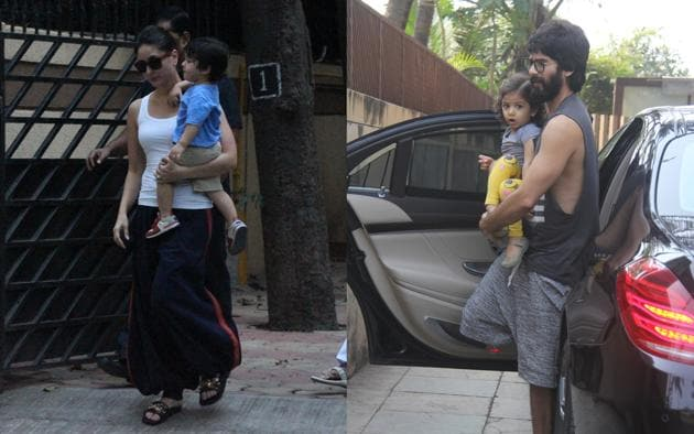 Kareena was spotted with son Taimur and Shahid was spotted with daughter Misha in Mumbai.(Viral Bhayani)