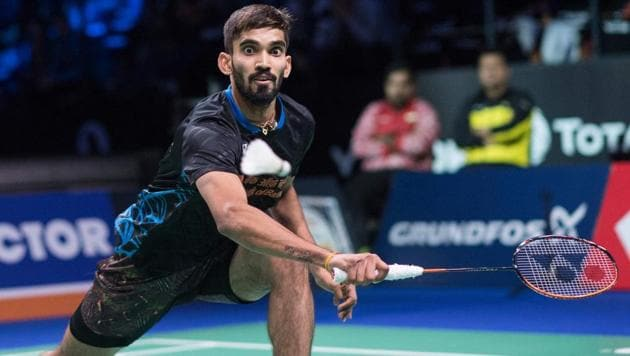 Srikanth Kidambi of India returns a shot.(AFP)